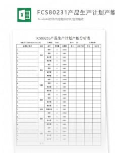 生产计划产能分析表