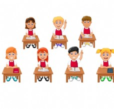 正在上课的卡通小孩矢量素材