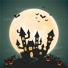 月亮与鬼屋万圣节背景图片