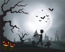 恐怖墓地万圣节背景图片