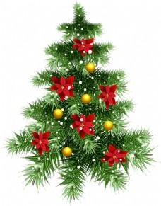 高清红色吊球装饰圣诞树元素