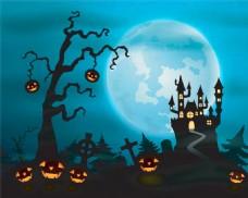 月亮下的南瓜灯万圣节背景图片