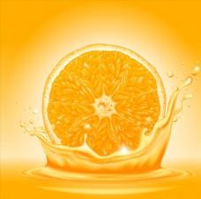 切开的橙子和喷溅的果汁矢量素材