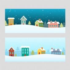 圣诞房子蓝色海报背景模板