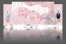 迎宾区背景墙设计粉色系
