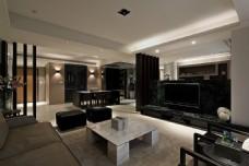 北欧设计感客厅白色茶几室内装修JPEG图