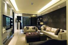 北欧时尚客厅深褐色背景墙室内JPEG图