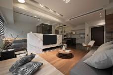 现代时尚客厅灰色棉质沙发室内装修效果图