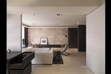 现代时尚客厅白色墙面室内装修效果图
