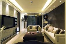 现代客厅深紫色茶几室内装修JPEG效果图