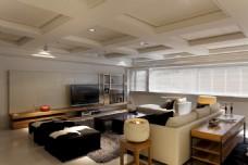 北欧简约客厅黑色皮质沙发JPEG效果图