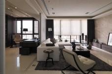 现代客厅浅色墙面室内装修效果图
