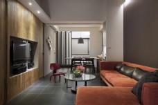 现代客厅橘色沙发室内装修JPEG效果图