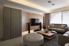 现代清新客厅褐色衣柜室内装修效果图
