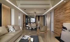 北欧客厅木制背景墙室内装修JPEG效果图