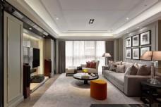 现代时尚客厅橙色凳子室内装修效果图
