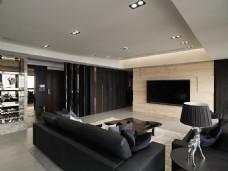 现代冷淡风客厅黑色沙发室内装修JPEG图
