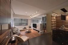 现代时尚客厅木制亮面地板室内装修效果图