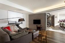 北欧清新客厅木地板室内装修JPEG效果图