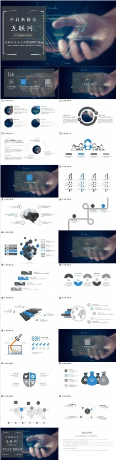 科技风互联网产品PPT模板