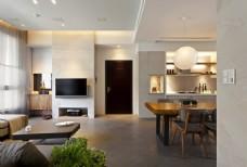 北欧清新客厅盆栽室内装修JPEG效果图