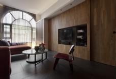 现代时尚客厅木制背景墙室内装修JPEG图