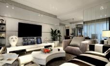 时尚客厅白色异形茶几室内装修效果图