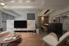 现代时尚客厅大理石电视背景墙室内装修图