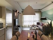 现代时尚客厅白色半圆吊灯室内装修效果图