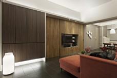 现代时尚客厅脏橘色沙发室内装修JPEG图