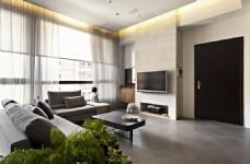 北欧客厅褐色门室内装修JPEG效果图