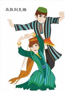 矢量手绘少数民族乌孜别克族