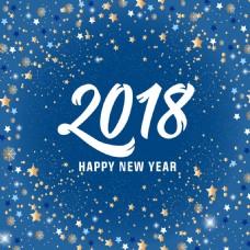 蓝色星空背景2018圣诞快乐海报设计
