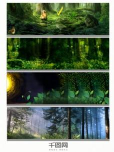 夜晚森林绿色背景banner