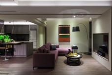 现代浪漫客厅紫色沙发室内装修JPEG图