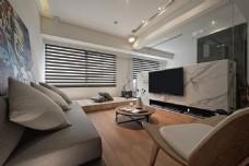 现代客厅浅褐色沙发室内装修效果图