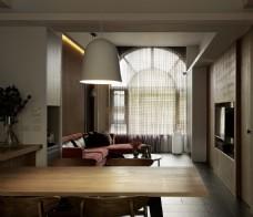 现代客厅木制餐桌室内装修JPEG效果图