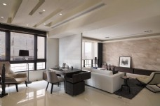 现代时尚客厅白色皮质沙发室内装修效果图