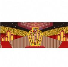 红金色舞台背景