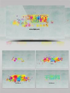 五彩彩色油滴喷彩设计ae素材logo