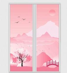 粉色日系风格移门