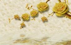 3D金色牡丹玫瑰花背景