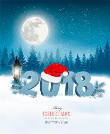 精美2018圣诞主题插画