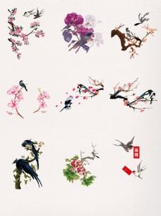 水墨中国风漂亮飞翔喜鹊