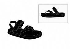 黑色日本风凉鞋设计