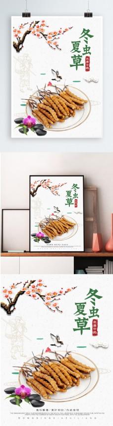 中国风冬虫夏草传统展板设计