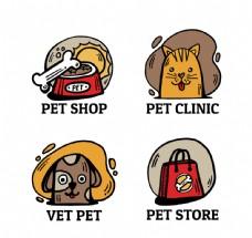 4款彩绘宠物店标志矢量素材