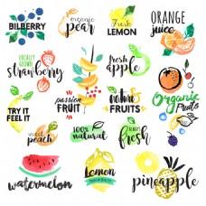 时尚水彩绘水果图标