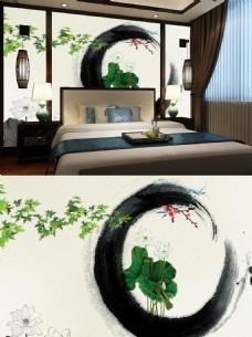 中国风荷花水墨