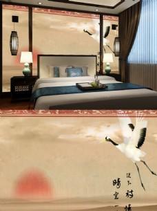 中式飞鹤诗词背景墙